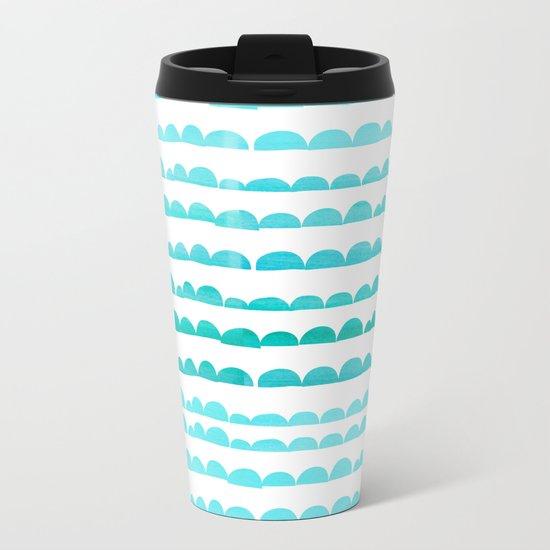 Handdrawn fun stripes pattern in turquoise on white background #Society6 Metal Travel Mug