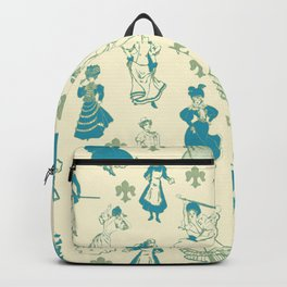 Vintage Ladies BLUE BEIGE / 18th and 19th century illustrations of women Backpack