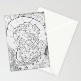 Adult Coloringbook Template Abstract Face Stationery Cards