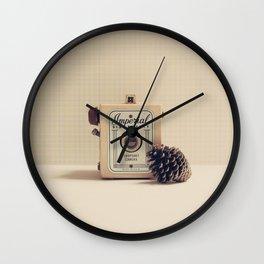Retro Camera and Pine Cone Wall Clock