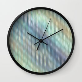 Modern Abstract, Striped, Reflective Light Glass, Optical Illusion, Pastel, Teal, Purple, Blue, Gold Wall Clock