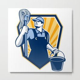 Janitor Cleaner Hold Mop Bucket Shield Retro Metal Print