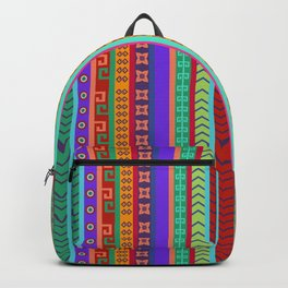 Ethnic Peruvian Motif Striped Pattern Backpack