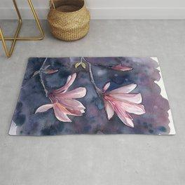 Winter Magnolia, watercolor artwork Rug