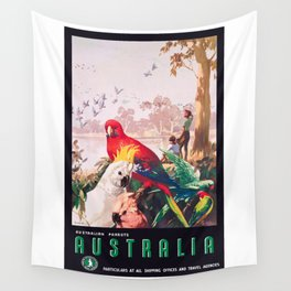 1935 AUSTRALIA Parrots Travel Poster Wall Tapestry