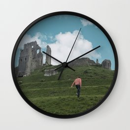 Corfe Castle and the Sky medieval Wall Clock