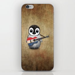 Baby Penguin Playing Dutch Flag Acoustic Guitar iPhone Skin