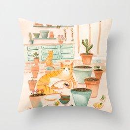 Cats' Potting Room Throw Pillow
