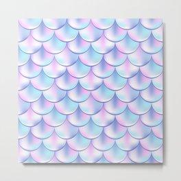 Pastel Violet Mermaid Pattern, Holographic Fish Scale Print Metal Print