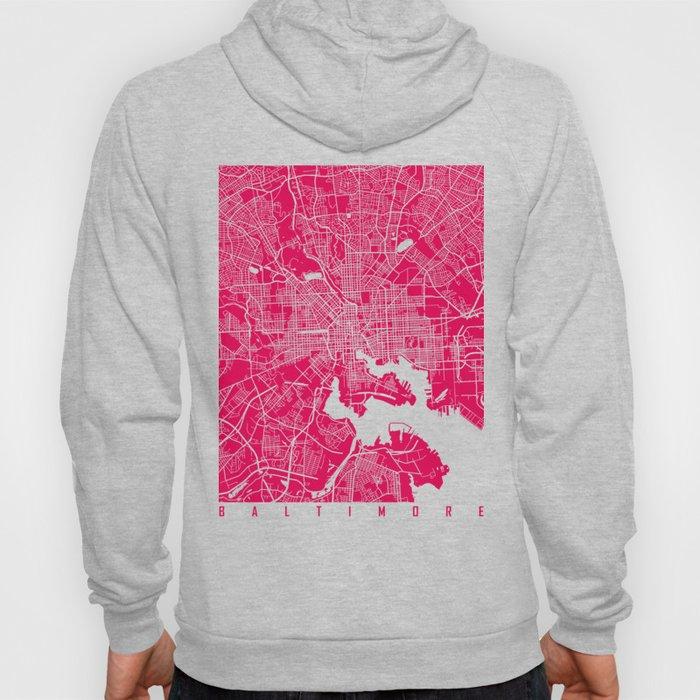 Baltimore map rapsberry Hoody