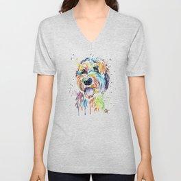 Goldendoodle, Golden Doodle Watercolor Pet Portrait Painting Unisex V-Neck