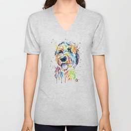 Goldendoodle, Golden Doodle Watercolor Pet Portrait Painting Unisex V-Neck