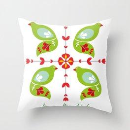 12 Days of Christmas - Four Calling Birds Throw Pillow