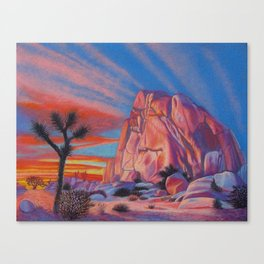 Glowing Joshua Tree sunset as the climbing day draws to a close Canvas Print