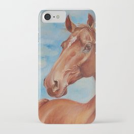 Brown Horse portrait English thoroughbred horse painting iPhone Case