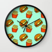 fries Wall Clocks featuring Burgers & Fries by CozyReverie