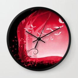 Dark Forest at Dawn in Ruby Wall Clock