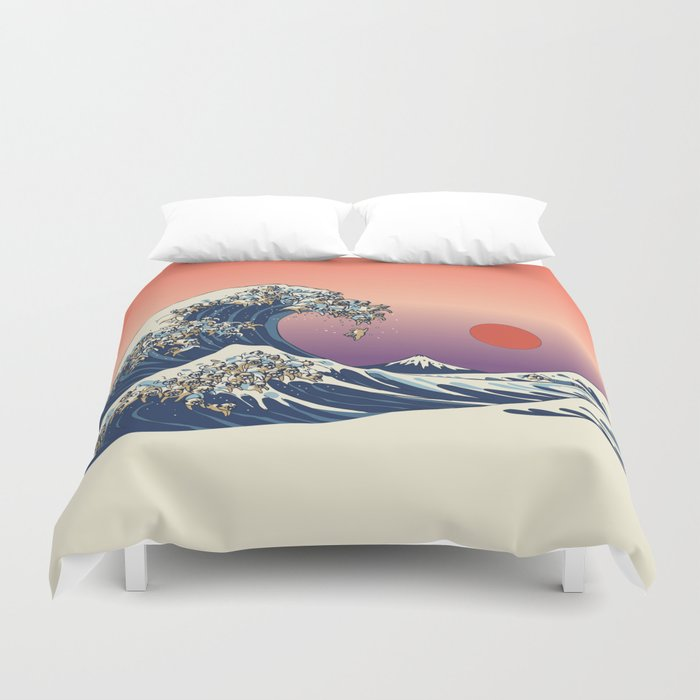 The Great Wave Of Pug Duvet Cover By Huebucket Society6