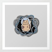 space cat Art Prints featuring Space Cat by alliedrawsthings