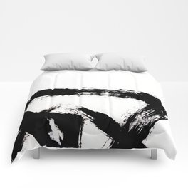 Brushstroke [8] - a simple, abstract, black and white india ink piece Comforters