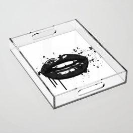 Black and white glamour fashion lips Acrylic Tray
