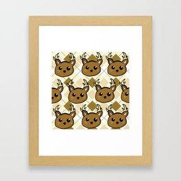 Deer and Argyle Framed Art Print