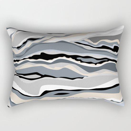 Black and white scandinavian minimal line pattern Rectangular Pillow