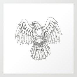 American Eagle Clutching Skull Doodle Art Print