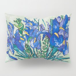 Iris Bouquet in Chinoiserie Vase on Blue and White Striped Tablecloth on Painterly Mint Green Pillow Sham