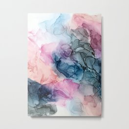 Heavenly Pastels: Original Abstract Ink Painting Metal Print