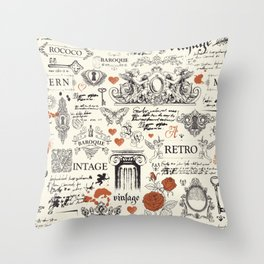 Vintage baroque hand drawn illustration pattern Throw Pillow