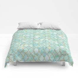 Luxury Aqua and Gold oriental pattern Comforters