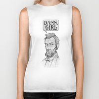 lincoln Biker Tanks featuring Damn, Lincoln by dellydel