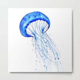 blue jellyfish watercolor Metal Print