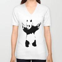 banksy V-neck T-shirts featuring Banksy Panda1 by vie3