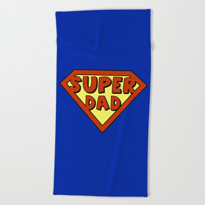 Funny super dad badge Beach Towel by pixxart