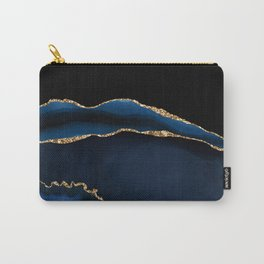 Navy & Gold Agate Texture 05 Carry-All Pouch