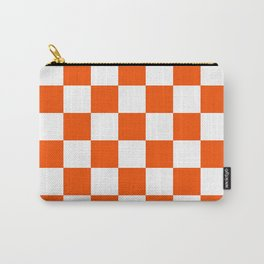 Checkered - White and Dark Orange Carry-All Pouch