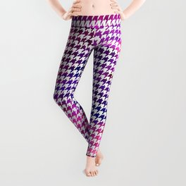 Houndstooth bright pink watercolor Leggings
