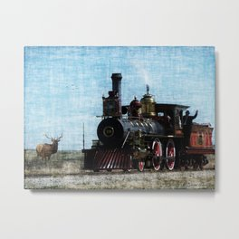 Iron Horse Invades the Plains Metal Print