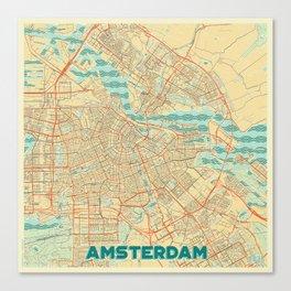 Amsterdam Map Retro Canvas Print