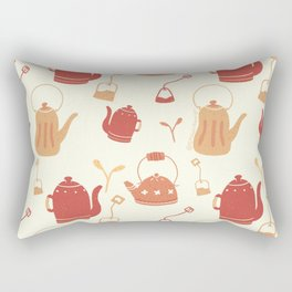 Tea themed seamless repeating pattern (warm) Rectangular Pillow