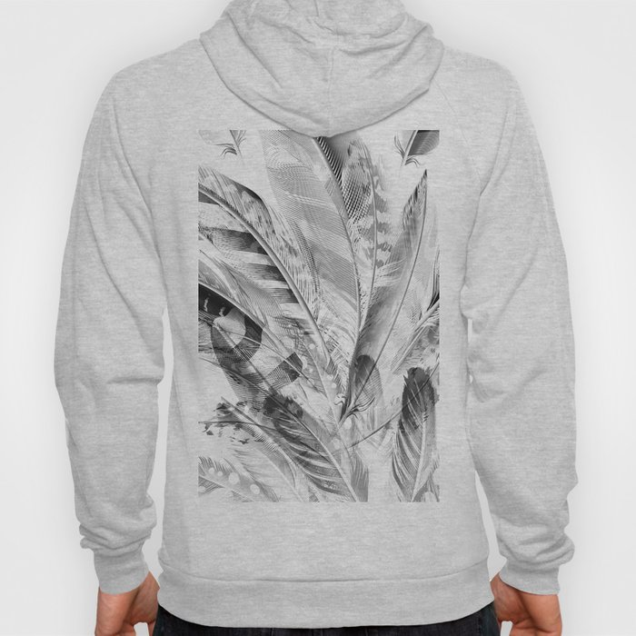 Cosmic Feathers Black and White Hoody