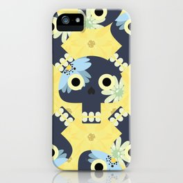 Cute pattern with funny skulls and yellow flowers iPhone Case