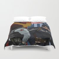 winter soldier Duvet Covers featuring Winter Soldier by Evan Tapper
