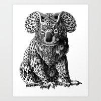 koala Art Prints featuring Koala by BIOWORKZ