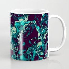 Neon cyan Glow splash on black Liquid paint art Coffee Mug