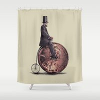 hat Shower Curtains featuring Penny Farthing  by Eric Fan