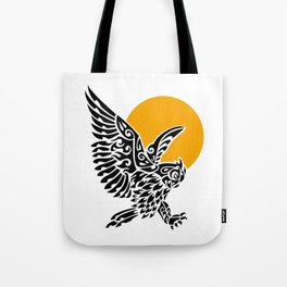 Great horned owl tribal tattoo Tote Bag
