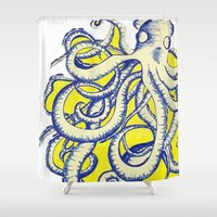 squid Shower Curtains featuring squid by alexmilll431